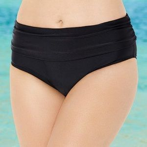 NWT Swimsuits For All black foldover brief size 14